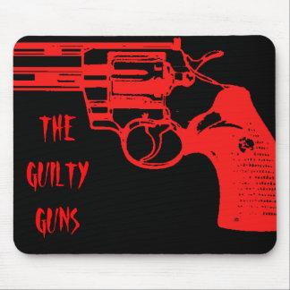 Red on Black Guilty Guns Revolva Mousepad