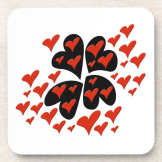 Red on Black Hearts Drink Coaster