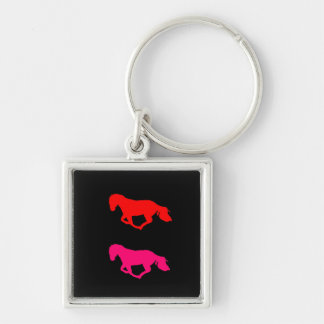 Red On Black Horse Silhouette Square keychain