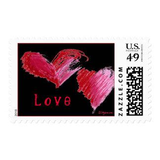 Red On Black Pastel LOVE Hearts Design Postage Stamps