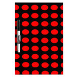 Red on Black Polka Dots Dry Erase Board