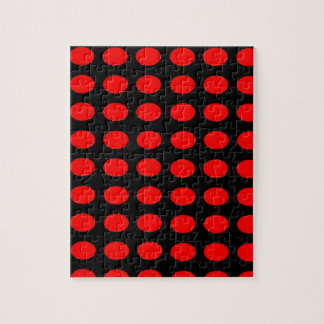 Red on Black Polka Dots Jigsaw Puzzle