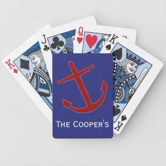Red on Blue Leaning Anchors Playing Cards