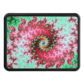 Red on Green Double Fractal Spiral Hitch Cover