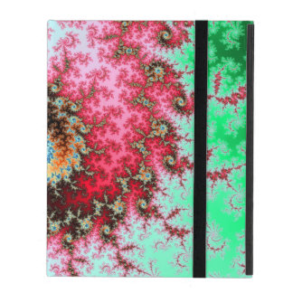 Red on Green Double Fractal Spiral iPad Covers