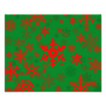 Red on Green Snowflakes for Everyone Photo Print