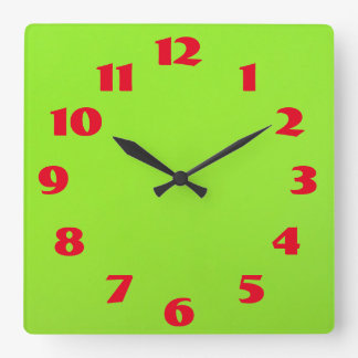 Red On Green Square Wall Clock