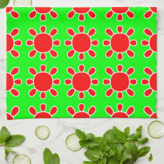 Red on green sun design kitchen towel