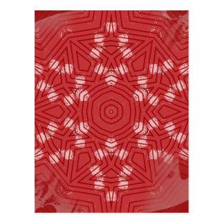 Red on grunge pink mandala greeting card