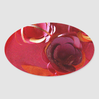 Red on Red by Robert E Meisinger 2014 Oval Stickers