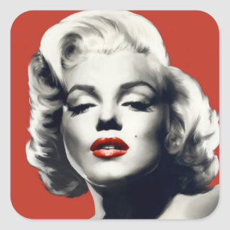 Red on Red Lips Marilyn Square Sticker