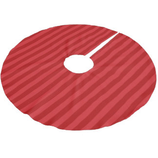 Red on Red Pattern Stripes Brushed Polyester Tree Skirt