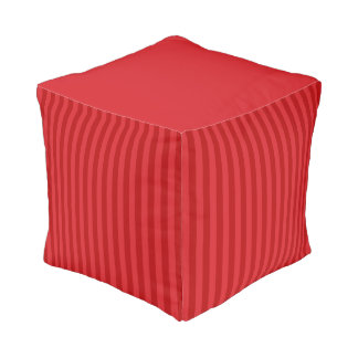 Red on Red Pattern Stripes Pouf