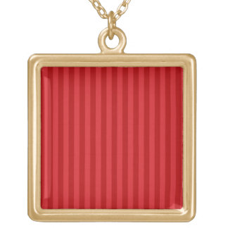 Red on Red Pattern Stripes Square Pendant Necklace