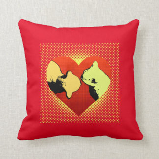 Red on red, two cats in a heart hello throw pillow