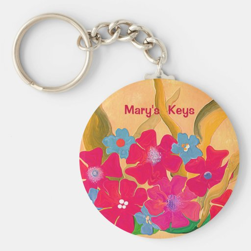 Red on Surreal Sunlight floral key chain