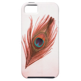 Red on Transparent Peacock Feather iPhone 5 Vibe iPhone SE/5/5s Case
