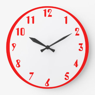 Red on white large clock