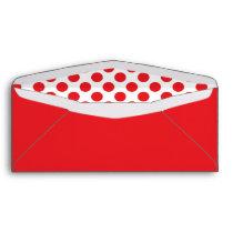 Red on White Polka Dot Envelope