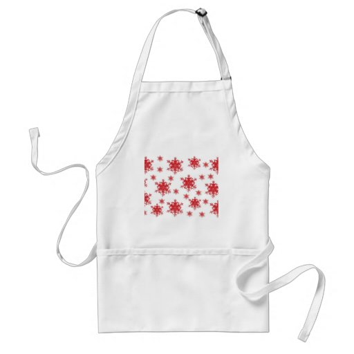 Red on White Snowflake Design Adult Apron