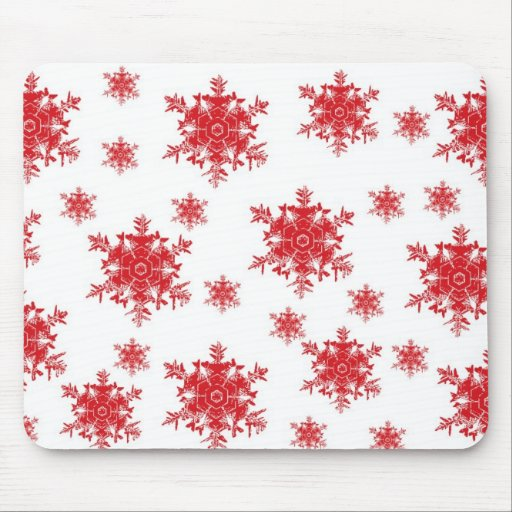 Red on White Snowflake Design Mouse Pad