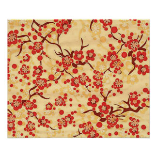 Red On Yellow Sakura Fine Vintage Japanese Floral Poster