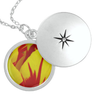 Red On Yellow Tulip Flower Custom Necklace