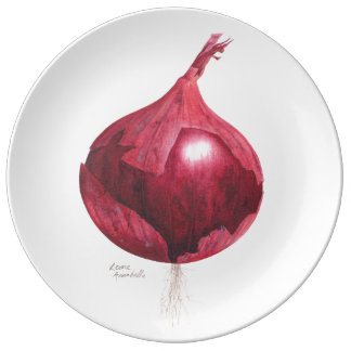Red Onion Botanical Decorative Plate