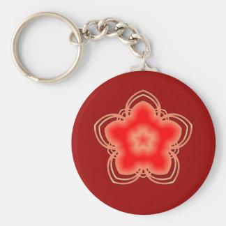 Red Opium Lotus Flower Basic Round Button Keychain