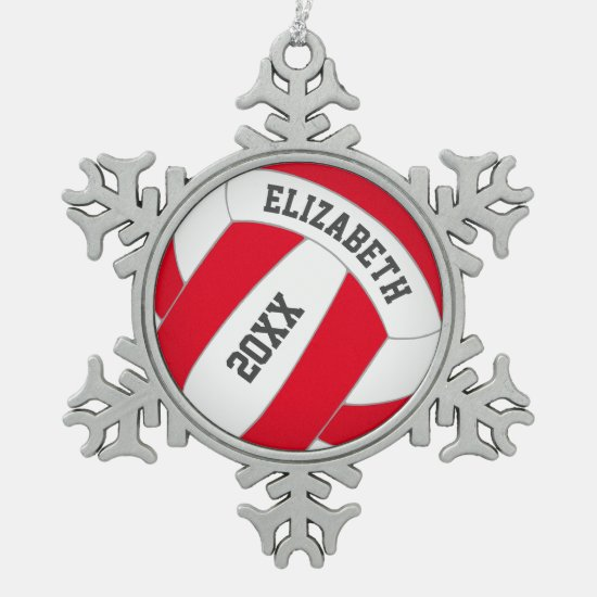 Red or ANY color personalized girl's volleyball Snowflake Pewter Christmas Ornament