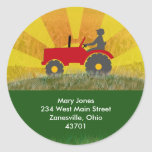 Red or Green Tractor Address Label Round Stickers