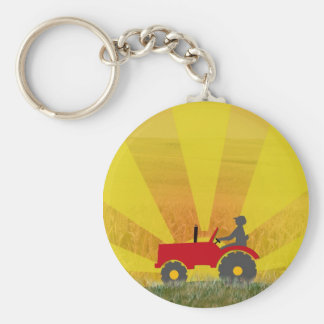 Red or Green Tractor Keychain