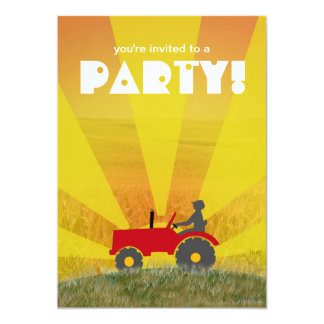Red or Green Tractor Party Invitation: Choose Your 5x7 Paper Invitation Card