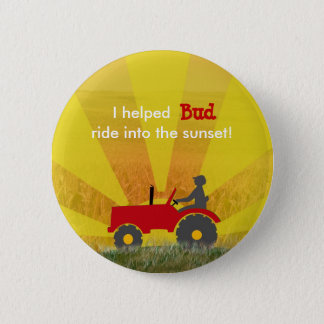 Red or Green Tractor Retirement Party Button