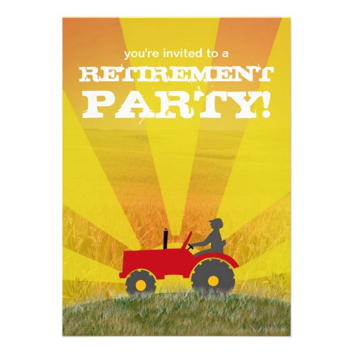 Red or Green Tractor Retirement Party Invitation: