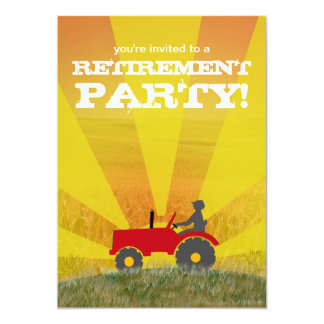 Red or Green Tractor Retirement Party Invitation: Card