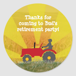 Red or Green Tractor Retirement Party Sticker