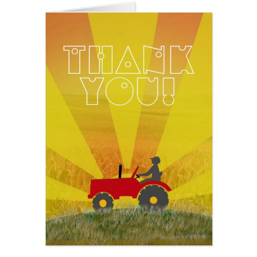 Red or Green Tractor Thank You Note Card