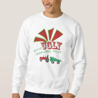 Red or Green Tractor Ugly Christmas Sweatshirt