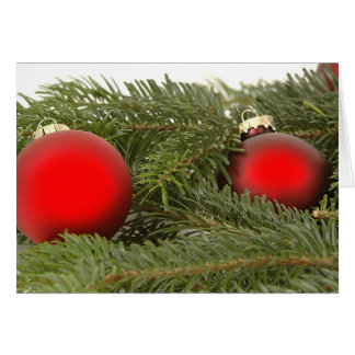 Red Oranaments on Pine Bough Christmas Card