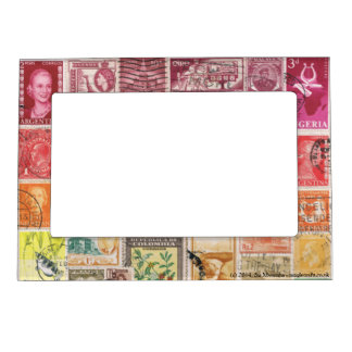 Red-Orange 2 Postage Stamp Collage, Picture Frame