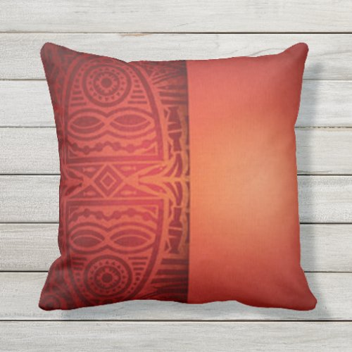 Red & Orange African Pattern Design Outdoor Pillow