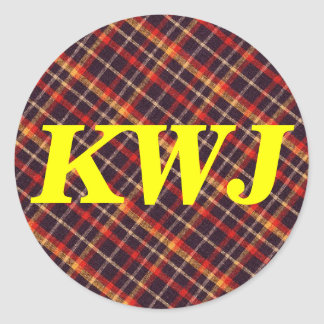 Red Orange And Black Plaid Pattern Custom Initials Classic Round Sticker