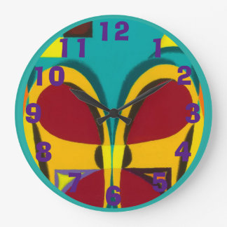 Red Orange and Blue Green Face Large Clock