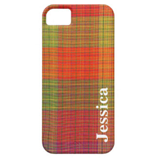 Red Orange and Green Plaid Fabric Pattern iPhone SE/5/5s Case