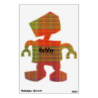 Red Orange and Green Plaid Fabric Pattern Wall Decal