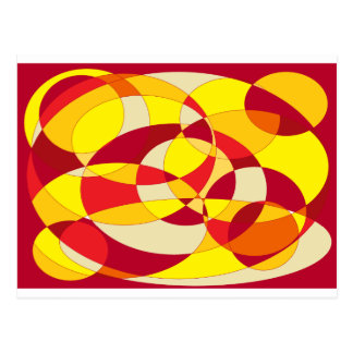 Red, orange and yellow abstract design. postcard