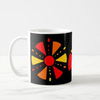 red, orange and yellow geometric flower coffee mug