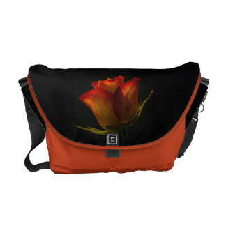 Red Orange and Yellow Rose Messenger Bags