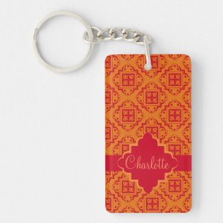 Red Orange Arabesque Moroccan Graphic Double-Sided Rectangular Acrylic Keychain